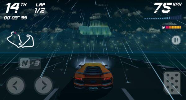 (O jogo conta com poucos controles: virar para a esquerda e direita, acelerar e usar o nitro para ganhar mais velocidade)