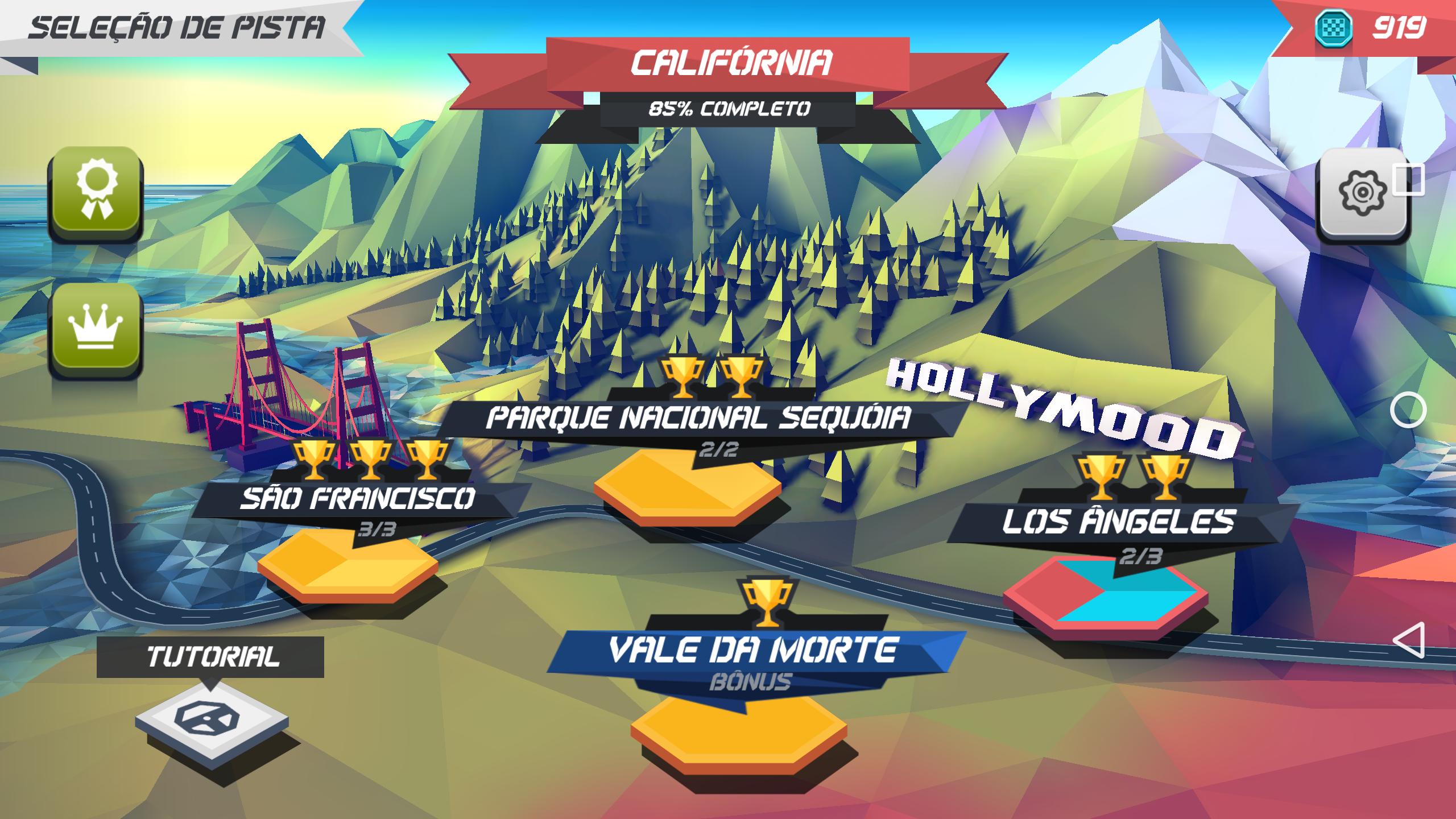 Cada etapa do jogo é representada por uma localidade do jogo onde se encontram as corridas