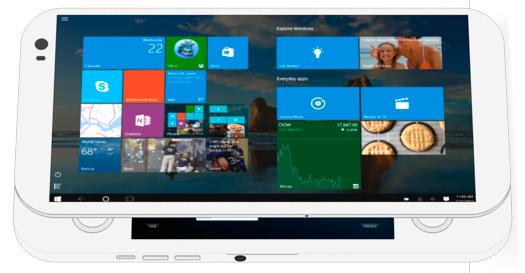 (O PGS conta com ambas as interfaces touch e convencional do Windows 10 além do Android)