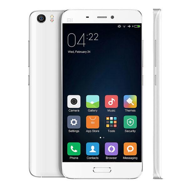 (Xiaomi Mi5 com seu design de vidro curvo e leitor de digitais frontal)